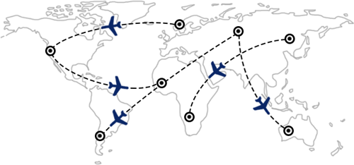 Rotas e combinações de voos em todo o mundo